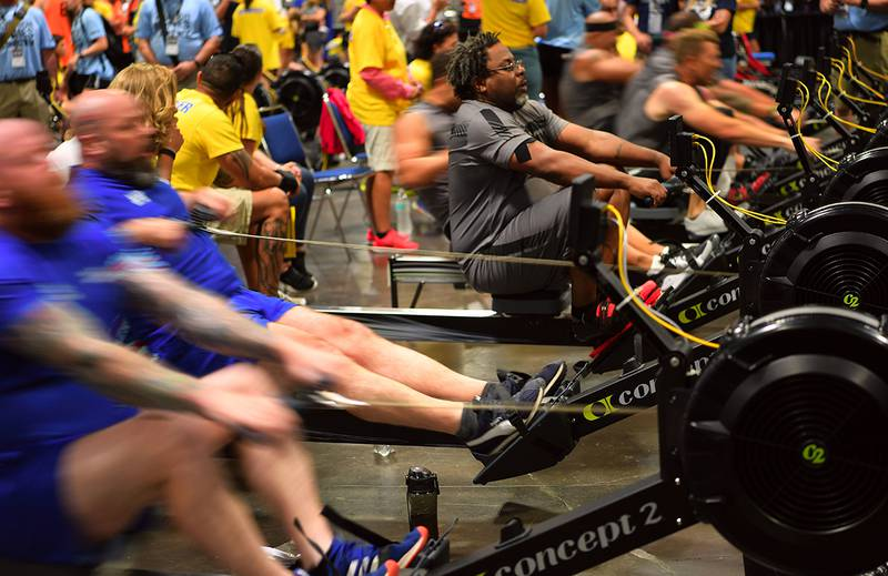 Team SOCOM Army Master Sgt. Henry Taylor competes in indoor rowing during the 2019 DoD Warrior Games hosted in Tampa, Fla