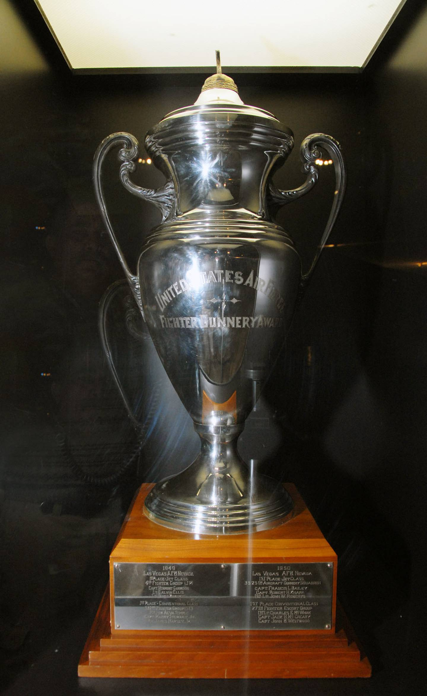USAF Fighter Gunnery Competition Trophy on display in the World War II Gallery at the National Museum of the U.S. Air Force. (U.S. Air Force photo)