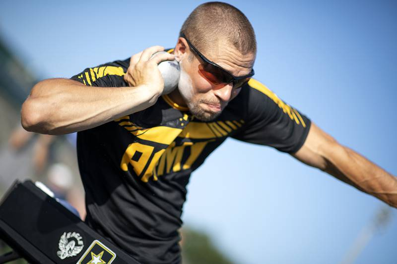 Army veteran Sgt. Jonathan Weasner, Team Army, prepares to launch a shot put during the 2019 DoD Warrior Games field events at the University of South Florida in Tampa, Fla.
