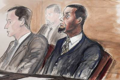 In this Feb. 24, 2016, courtroom file sketch, Tairod Nathan Webster Pugh, right, sits at the defense table.
