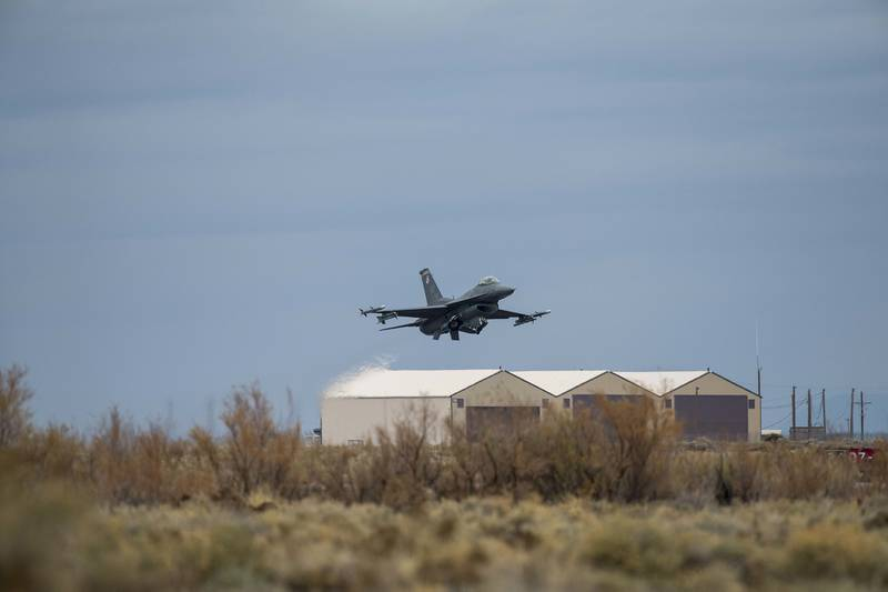 An F-16 Viper assigned to the 311th Fighter Squadron takes off from Holloman Air Force Base, N.M., Dec. 10, 2020.