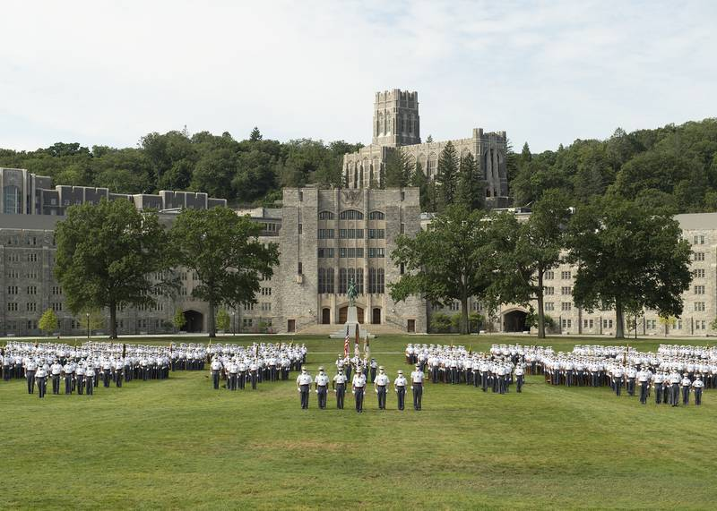 Members of the U.S. Military Academy Class of 2024 officially join the Corps of Cadets during the Acceptance Day parade on the Plain at West Point, N.Y., Aug. 15, 2020.