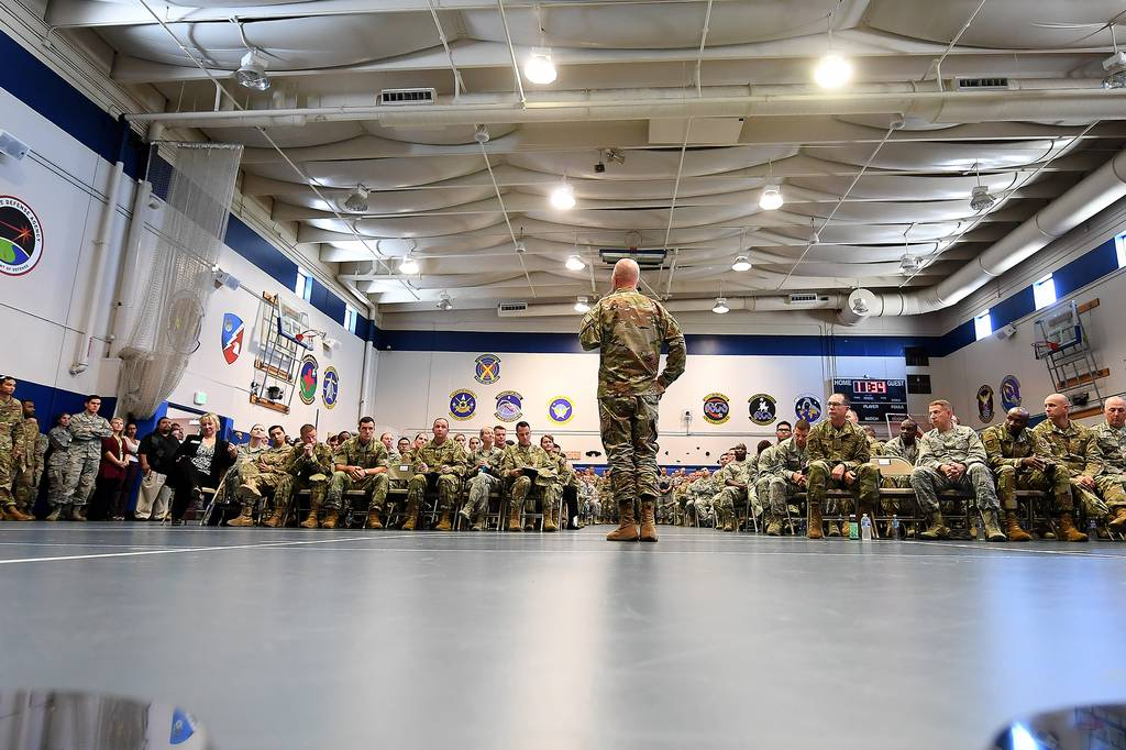 Gen. Jay Raymond, Air Force Space Command commander, briefs airmen during an all-call at Schriever Air Force Base, Colorado, July 29, 2019.