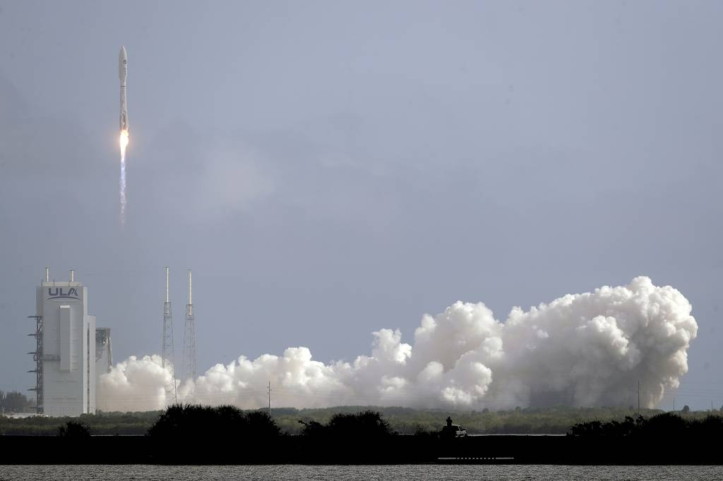A United Launch Alliance Atlas V rocket lifts off from Launch Complex 41 at the Cape Canaveral Air Force Station, Sunday, May 17, 2020, in Cape Canaveral, Fla.