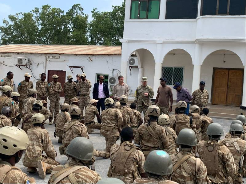 U.S. Army Gen. Stephen Townsend, commander of U.S. Africa Command, addresses personnel from the Puntland Security Force on Feb. 13, 2020, in Bosasso, Somalia.