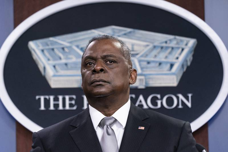 Secretary of Defense Lloyd Austin listens to a question as he speaks during a media briefing at the Pentagon, Feb. 19, 2021, in Washington.