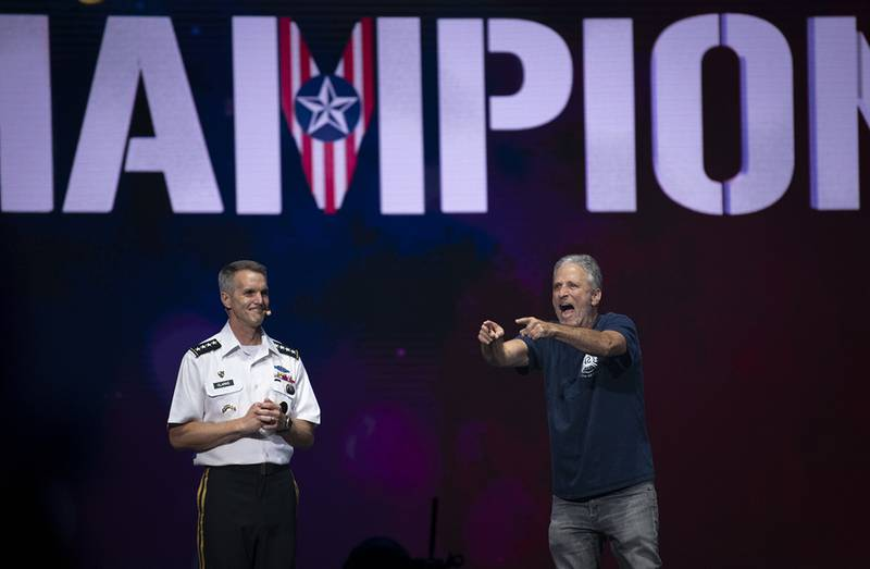Actor John Stewart acknowledges the athletes at the 2019 DoD Warrior Games closing ceremony in Tampa, Fla., June 30.