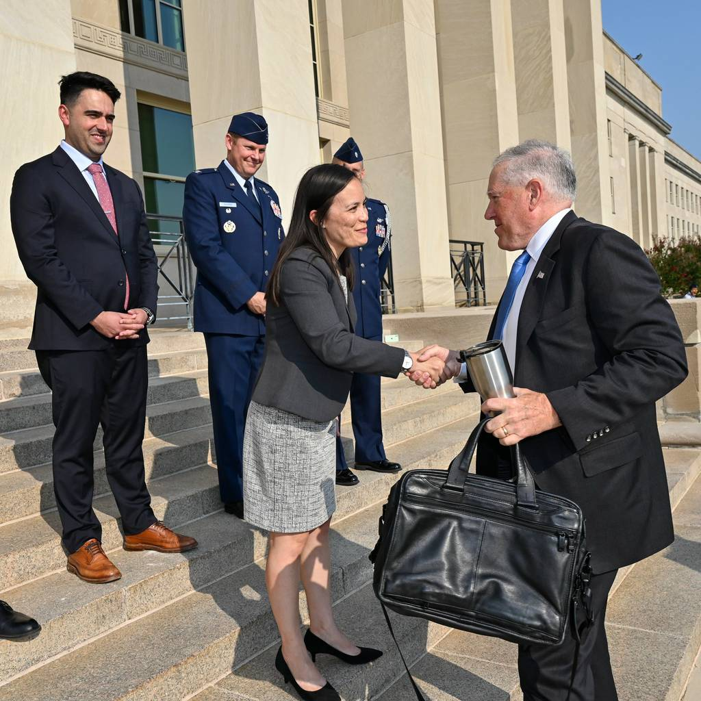 Air Force Secretary Frank Kendall and Undersecretary Gina Ortiz Jones meet at the Pentagon on July 28, 2021. Kendall was sworn in as the new civilian leader of the Air Force and Space Force that morning. (Air Force photo)