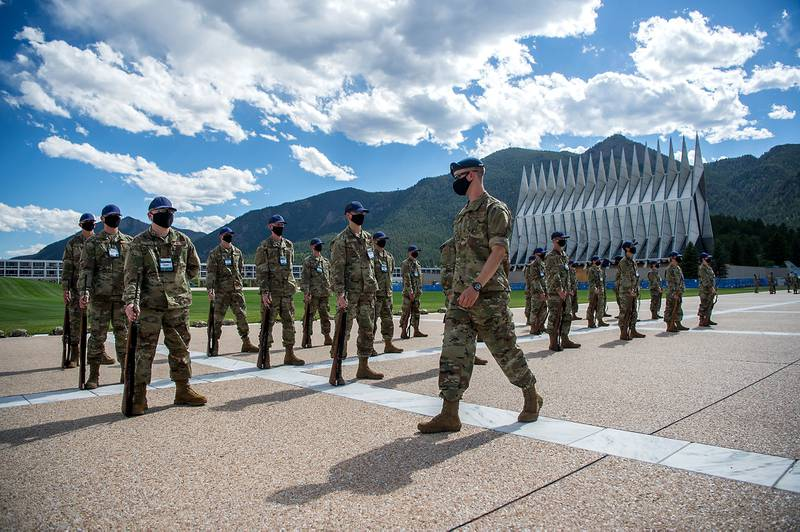 Academy basic cadets participate in the first phase of basic cadet training with marching drills onJuly 8, 2020, onthe Terrazzo at the U.S. Air Force Academy in Colorado.