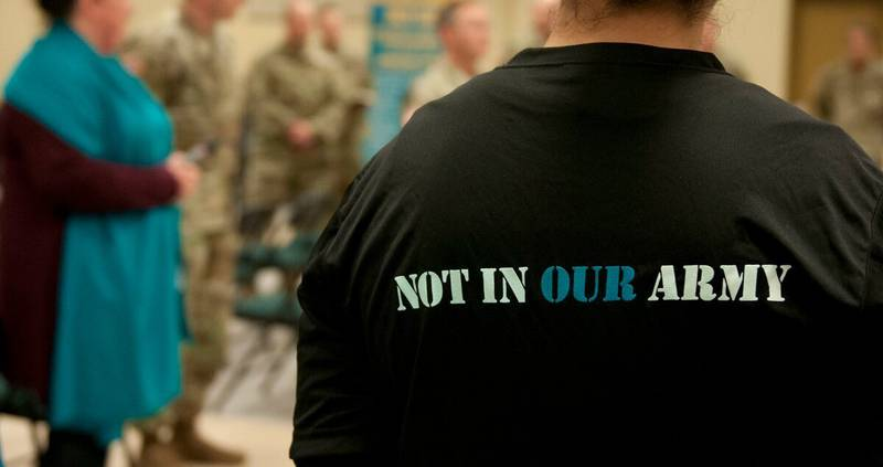 A T-shirt worn by a soldier at Joint Base Lewis-McChord, Wash., on April 17, 2020, represents efforts to prevent sexual harassment and assault in today's Army.
