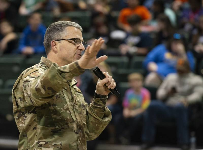 Maj. Gen. William T. Cooley, Air Force Research Laboratory commander, speaks during the FIRST LEGO League Tournament closing ceremony in the Wright State University Nutter Center, Dayton, Ohio, Feb. 3, 2019. (Air Force/R.J. Oriez)
