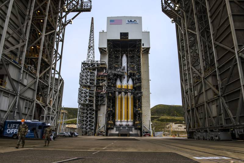 The National Reconnaissance Office Launch-82 vehicle, supported by Delta IV Heavy rockets, stands tall at Space Launch Complex-6 at Vandenberg Air Force Base, California, April 25, 2021. NROL-82 supports the NRO's overall national security mission to provide intelligence data to U.S. senior policy makers, the intelligence community and the Department of Defense. (Staff Sgt. Luke Kitterman/U.S. Space Force)
