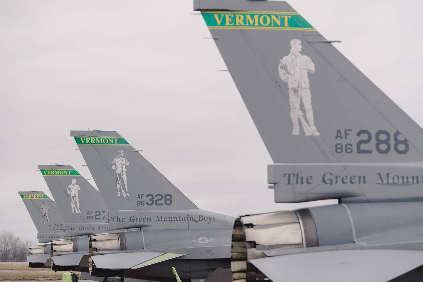 """U.S. Air Force F-16 Fighting Falcons assigned to the 134th Fighter Squadron, 158th Fighter Wing, Burlington Air National Guard Base, prepare to depart from the base for other locations during a """"Viper Out"""" ceremony at South Burlington, Vt., April 6, 2019."""