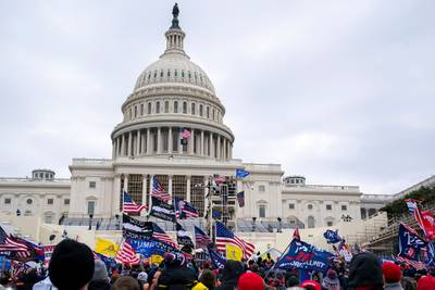 Supporters of President Donald Trump protest outside the U.S. Capitol on Jan. 6, 2021, in Washington.