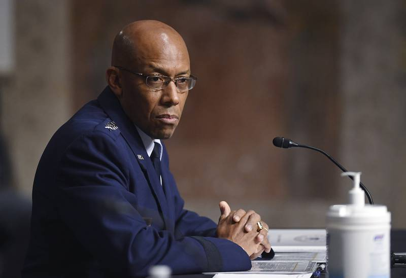 Gen. Charles Q. Brown Jr., nominated for reappointment to the grade of general and to chief of staff of the U.S. Air Force, testifies during a Senate Armed Services Committee nominations hearing on Capitol Hill in Washington