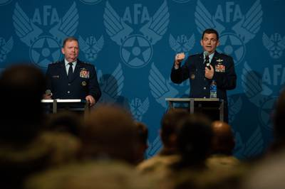 Lt. Gen. Michael Loh (right), head of the Air National Guard, and Lt. Gen. Richard Scobee, head of the Air Force Reserve, speak on total force integration at the Air Force Association's annual conference at National Harbor, Md., on Sept. 21, 2021. Photo via @GenCQBrownJr on Twitter.