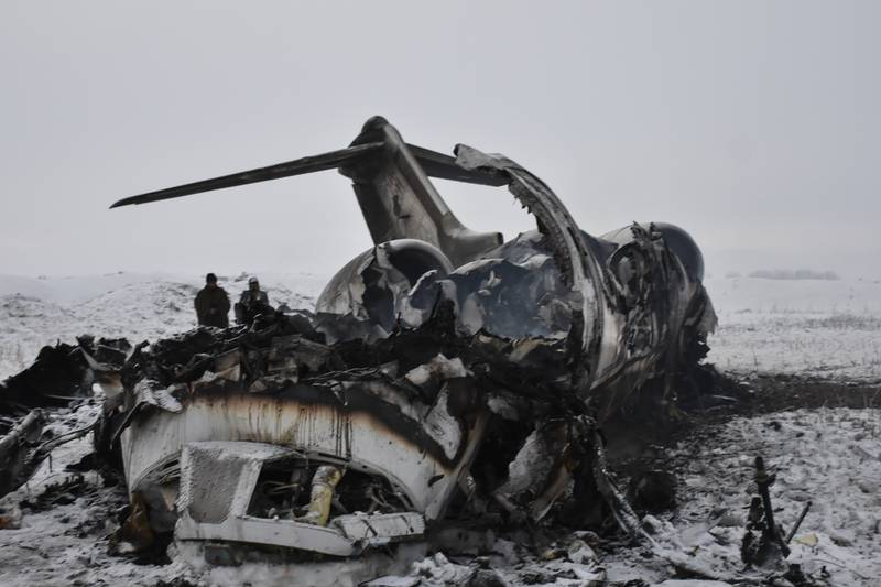 Wreckage of a U.S. military aircraft