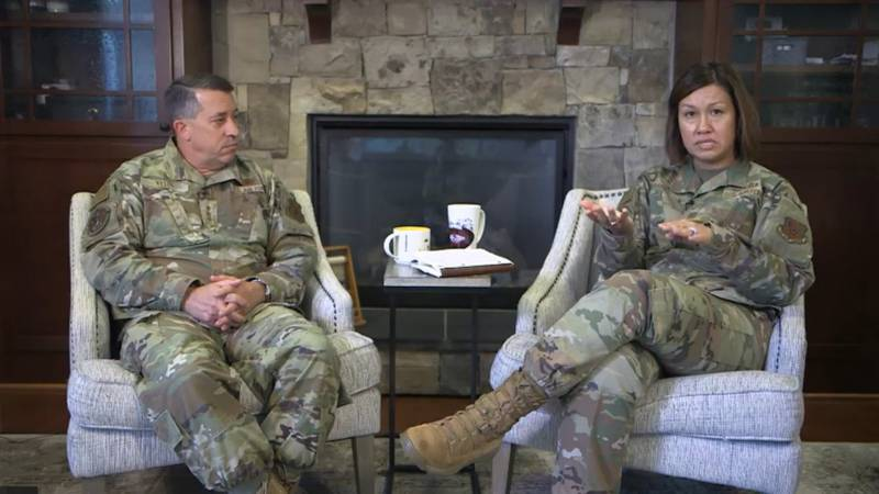 Lt. Gen. Brian Kelly, deputy chief of staff for manpower, personnel and services, and Chief Master Sergeant of the Air Force JoAnne Bass discuss personnel policy changes during a live Facebook question-and-answer session on June 28, 2021. (Facebook livestream screenshot)