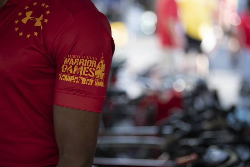 Marine Corps competitors get ready for the 2019 DoD Warrior Games cycling competition in Tampa, Fla., June 23.