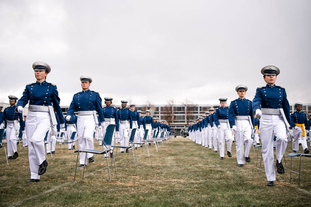 Cadets bound for the Space Force participate in the U.S. Air Force Academy's graduation ceremony on April 18, 2020. (Air Force Falcons Twitter)