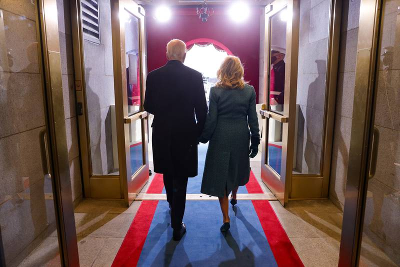 President-elect Joe Biden and Dr. Jill Biden arrive to Biden's inauguration on the West Front of the Capitol on Jan. 20, 2021, in Washington.