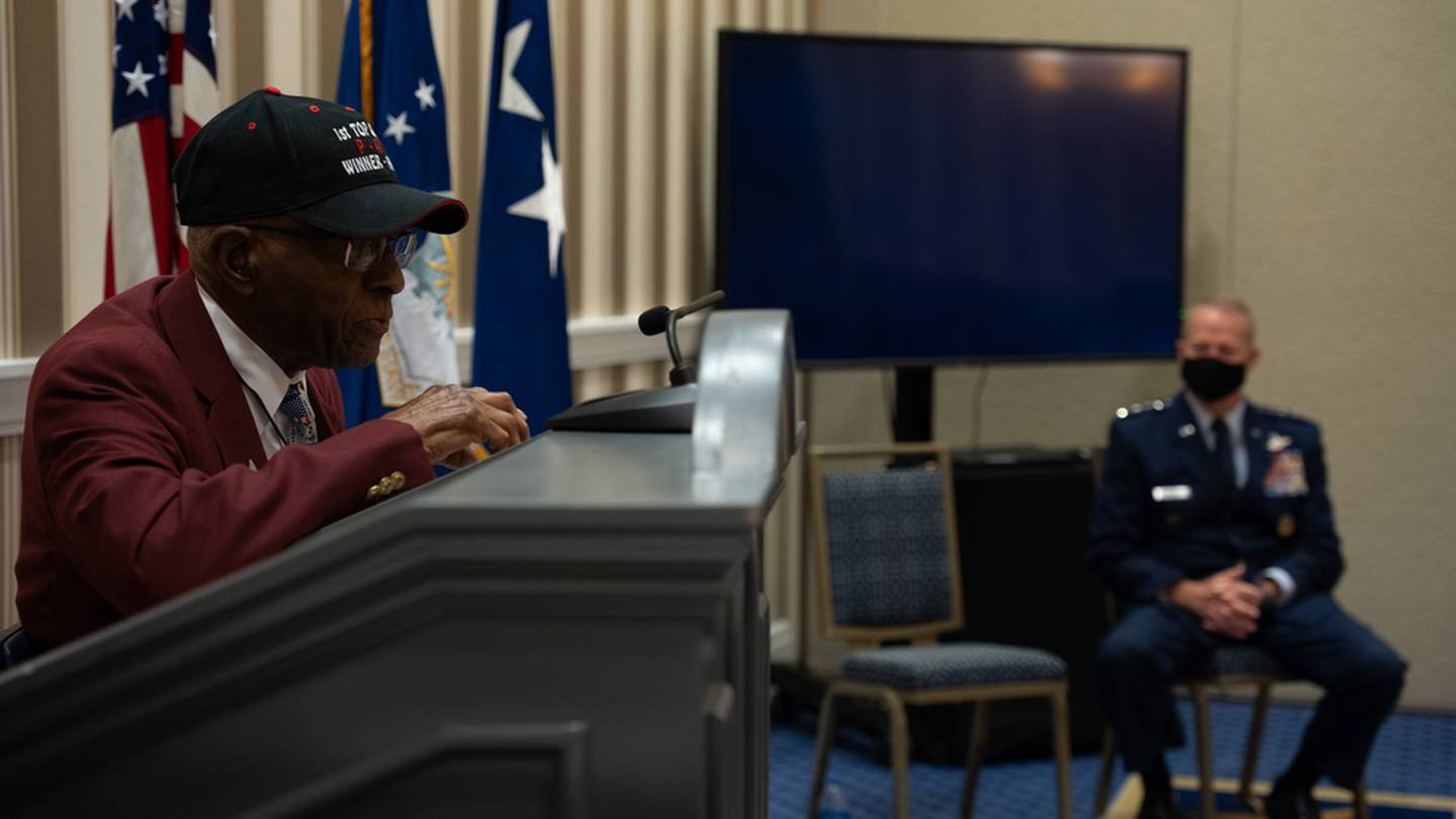 Retired U.S. Air Force Lt. Col James Harvey, an original Tuskegee Airman, speaks during the 2021 Air Force Association Air, Space and Cyber conference at National Harbor, Md., Sept. 20, 2021. (Staff Sgt. Jay Molden/Air Force)