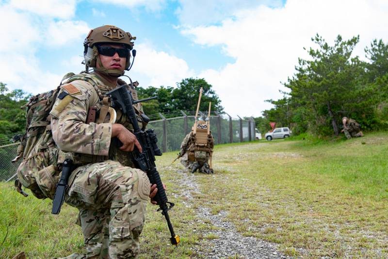 Senior Airman Miguel Ramirez, an Explosive Ordnance Disposal technician from the 18th Civil Engineer Squadron, provides security while on patrol during an Improvised Explosive Device training event on Kadena Air Base, Japan, May 26, 2021. (Airman 1st Class Yosselin Perla/Air Force)