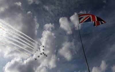 British flag at Royal Air Force flyover