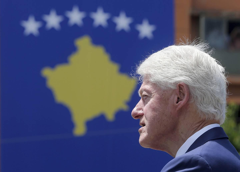 Former U.S. President Bill Clinton speaks during anniversary celebrations in the capital Pristina, Kosovo, Wednesday, June 12, 2019.
