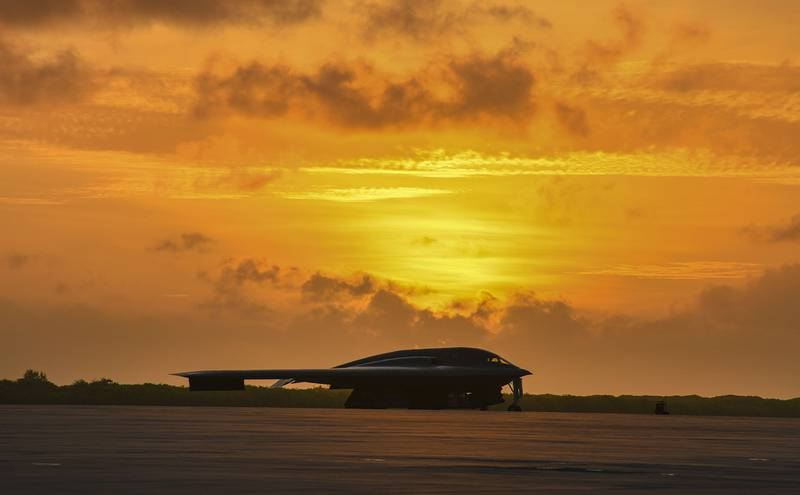 A B-2 Spirit sits on the flightline of Naval Support Facility Diego Garcia in support of a Bomber Task Force deployment, Aug. 24, 2020.
