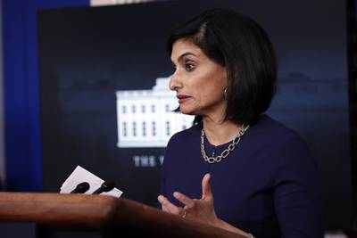 In this April 7, 2020, file photo, Seema Verma, administrator of the Centers for Medicare and Medicaid Services, speaks about the coronavirus in the James Brady Press Briefing Room of the White House in Washington.
