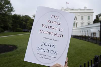 """A copy of """"The Room Where It Happened"""" is photographed at the White House in Washington."""
