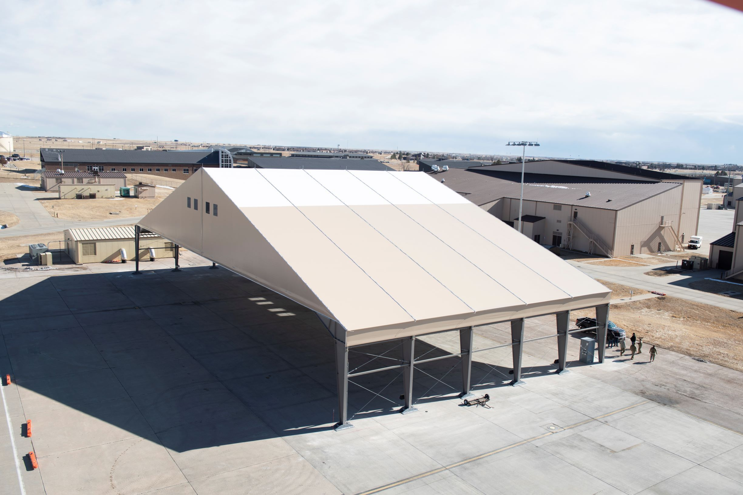 Air Force starts testing out temporary prototypes of B-21 protection shelters