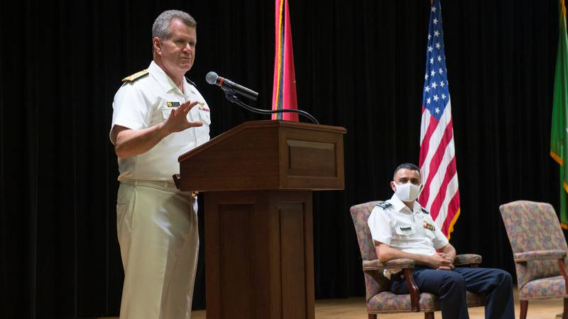 Vice Adm. Samuel Paparo, left, commander of U.S. Naval Forces Central Command, U.S. 5th Fleet and Combined Maritime Forces, speaks at the Combined Task Force (CTF) 152 change of command ceremony at Naval Support Activity Bahrain, Aug. 31, 2020.