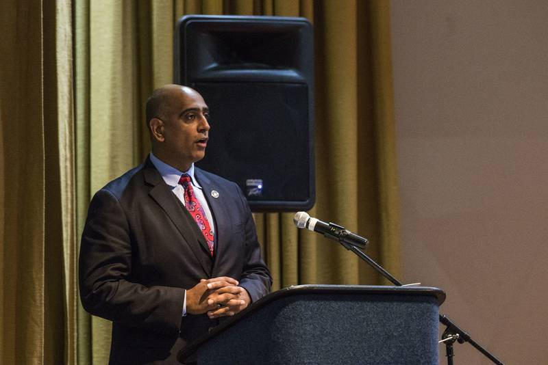 Ravi Chaudhary, a member of the President's Advisory Commission on Asian Americans and Pacific Islanders, gives a speech to members in attendance about the contributions of AAPI soldiers on May 12, 2016, at Fort Bragg, North Carolina. (Staff Sgt. Christopher Freeman/Army)