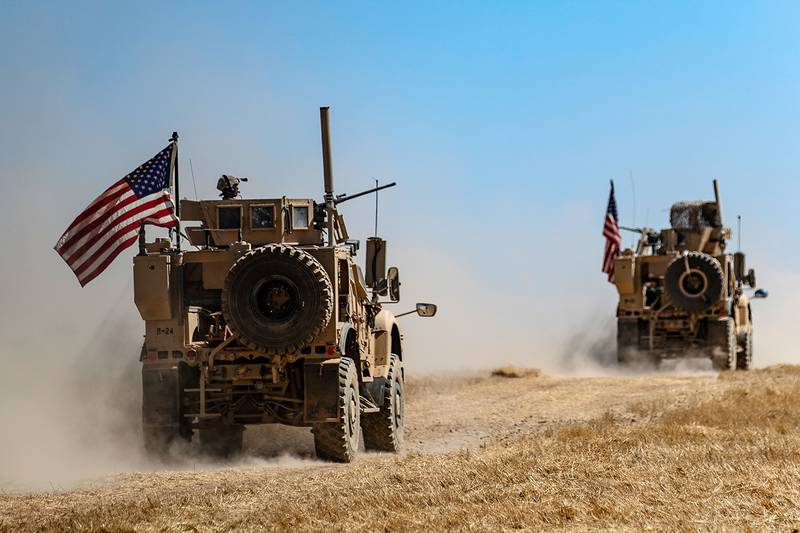 A U.S. military convoy takes part in joint patrol with Turkish troops