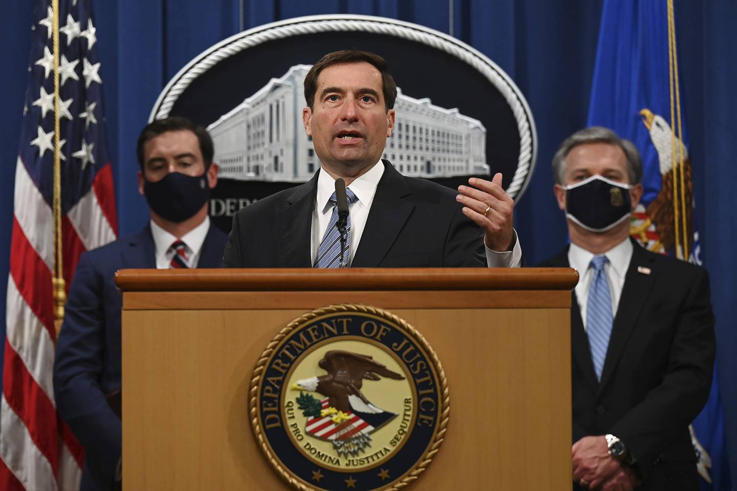Assistant Attorney General of the National Security Division John Demers speaks during a press conference at the Department of Justice, Wednesday,  Oct. 7, 2020, in Washington.