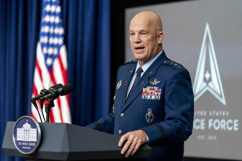 Chief of Space Operations at U.S. Space Force Gen. John Raymond speaks at a ceremony to commemorate the first birthday of the U.S. Space Force at the Eisenhower Executive Office Building on the White House complex on Dec. 18, 2020, in Washington.
