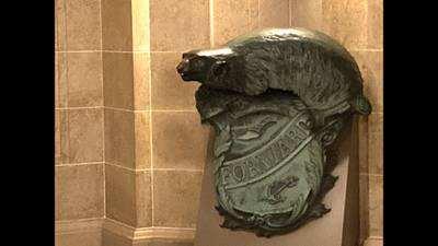 A Badger and Shield statue is seen outside the governor's Capitol office in Madison, Wis., Jan. 27, 2021.